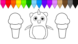 learn colors for kids and color ice cream and hatchimals coloring