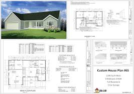 redoubtable 3 bedroom 2 bath house plans with basement 1140 sq ft