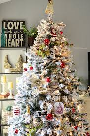 frosted christmas tree home tour flocked christmas trees christmas tree and
