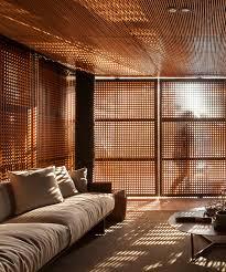Harmony In Interior Design Mf Arquitetos U0027 Wooden Screen And Garden Wall Establish Interior
