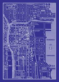 Downtown Chicago Map 1949 Vintage Map Of Chicago Illinois 20x30 Blueprint Map Print