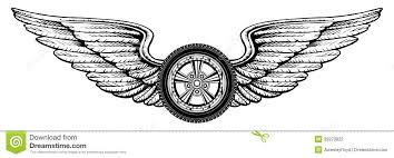 wheel with wings stock vector illustration of transportation