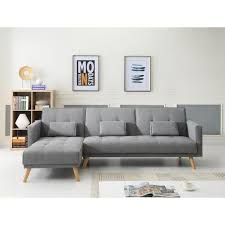 canapé d angle gris clair scandinave canapé d angle réversible convertible 267x151x88cm