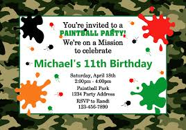 paintball birthday party invitations cimvitation