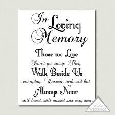 in loving memory wedding sign printable pdf jpeg instant