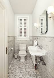 Marble Mosaic Floor Tile Ceramic Tile Wainscot Powder Room Victorian With White Window