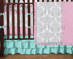 Pink And Brown Damask Crib Bedding Pink Gray And Turquoise Skylar Baby Bedding 9pc Crib Set