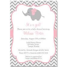 chevron elephant pink baby shower invitation shower invitations