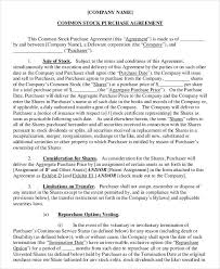 22 free purchase agreement formstock purchase agreement template