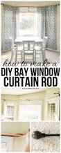 how to make your own kitchen curtains diy bay window curtain rod for less than 10 diy bay window