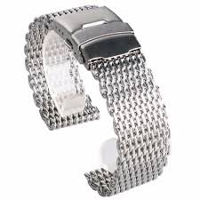 stainless steel bracelet strap images 18 20 22 24mm stainless steel dive shark mesh milanese watch JPG