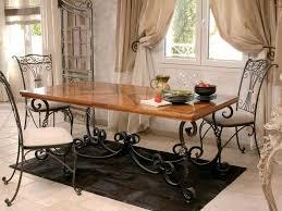 table de cuisine en fer forgé table en fer forg et bois top table en fer style forg avec un