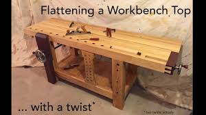 Woodworking Bench Top by Flattening A Workbench Top With A Twist Youtube