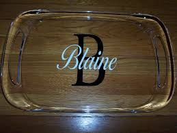 monogrammed trays personalized large acrylic serving tray with handles gift wrapped
