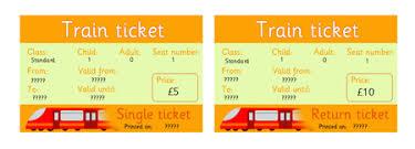 editable rail tickets eyfs ks1 role play free early years