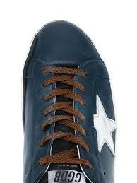 golden goose leopard slide sneaker blue cotton and leather u0027super