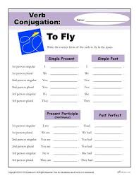 to fly verb conjugation worksheets 2nd 3rd 4th 5th grade