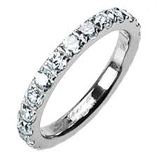 eternity wedding bands 3mm high polished titanium cz cubic zirconia