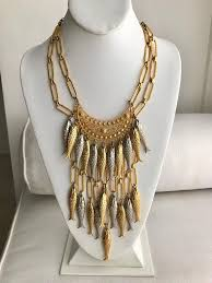 bib necklace gold images 1970s gold and silver fish bib necklace with earring set at 1stdibs JPG