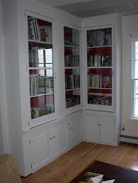 White Bookcases With Doors by Furniture Tall L Shaped White Stained Mahogany Wood Bookcase With