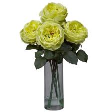 Silk Flower Depot - 18 in h yellow fancy rose with cylinder vase silk flower