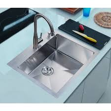 nationalware 25 inch satin stainless steel overmount single bowl