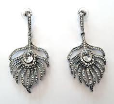 peacock feather earrings s butler wilson clear peacock feather earrings new ebay