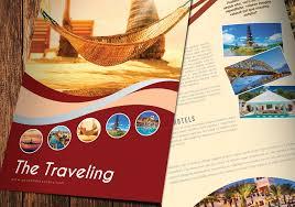 bi fold travel brochure template design in illustrator ai