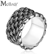 braided ring mcllroy ring men rings retro style wedding bands stainless steel