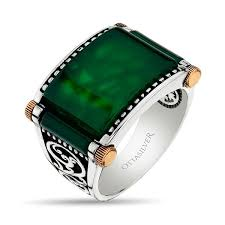 green stone rings images Green agate stone sterling silver ring ottasilver jpg