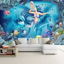 aliexpress com buy custom wall mural wallpaper underwater world aliexpress com buy custom wall mural wallpaper underwater world mermaid dolphin wall painting living room children s room bedroom decor wallpaper from