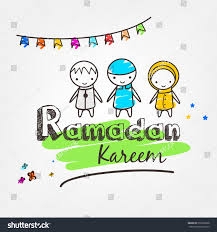 muslim kids celebrating their holy month stock vector 615928028