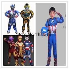 christmas boys girls muscle iron man captain america costume