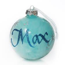 personalised glass blue feather bauble