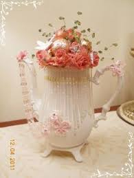 altered teapot shabby chic pink handmade clayroses lace gimp