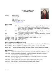 resume english sample academic cv example