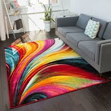 Multi Colored Area Rug Well Woven Modern Bright Waves Abstract Yellow Multi Area Rug 7