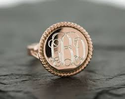monogrammed silver ring gold monogram ring etsy