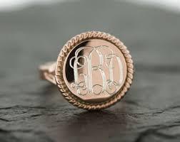 monogrammed rings silver gold monogram ring etsy