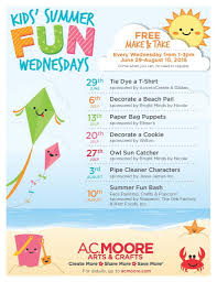 free summer crafts for kids at ac moore on wednesdays harford