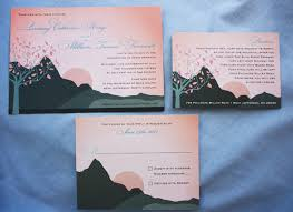 mountain wedding invitations blush blue gray summer mountain sunset wedding