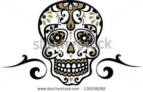 mexican skull flower ornament el dia stock vector 130254527