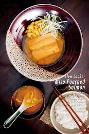 slow cooker miso poached salmon