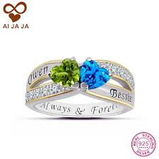 engraved sterling rings images Buy sterling sliver custom two hearts engraved jpg