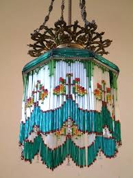 Antique Mercury Glass Chandelier Antique 1900s Czech 10x11 Mercury Glass Beaded Chandelier Lamp