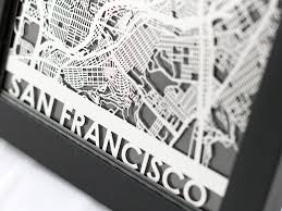 san francisco map framed san francisco california stainless steel laser cut map