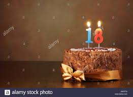 birthday chocolate cake with burning candles as a number eighteen