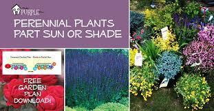 perennial garden plans for partial sun or shade pretty purple door