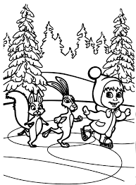masha bear skiing winter season coloring pages color luna