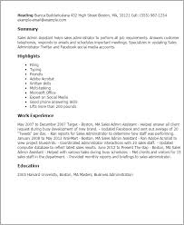 Admin Resume Template Professional Sales Admin Assistant Templates To Showcase Your